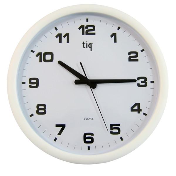 Часы d=40см, круглые, белые, пластиковые Tig
