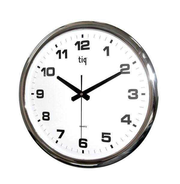 Часы d=40см, круглые, серебристые, пластиковые Tig
