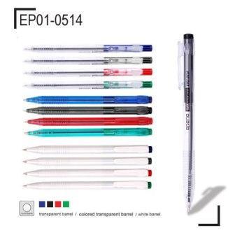 Ручка шариковая, 1.0мм, красная, автомат, корпус прозрачный Epene