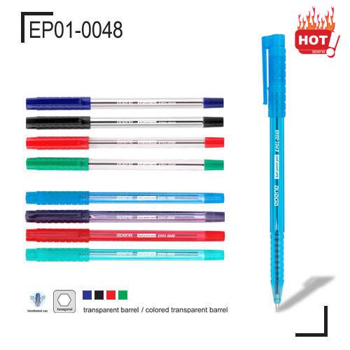 Ручка шариковая, 1.0мм, красная, корпус прозрачный Epene