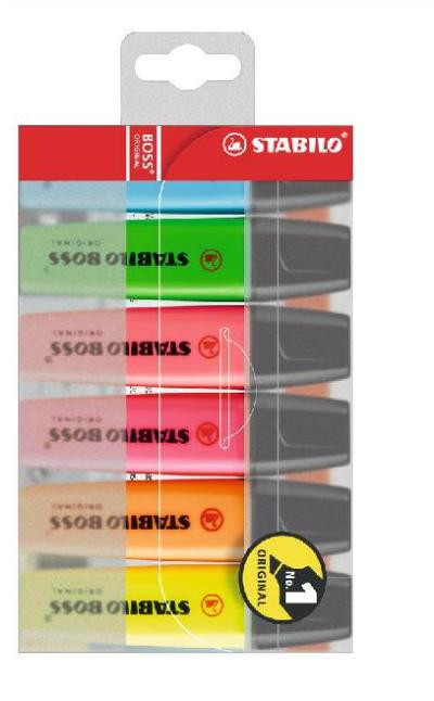 Маркер текстовой, 2-5мм, скош.наконечник, набор 6 цветов Stabilo Boss