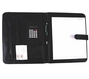 Папка для конференций, А4(33x25x2см), калькулятор, блокнот, кожзам черная Foska