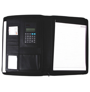 Папка-портфель для конференций, А4(32x25x2см), на молнии, калькулятор, блокнот, кожзам, черная Foska
