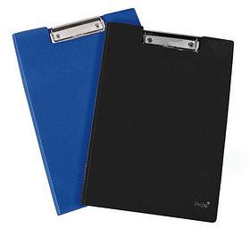 Папка-планшет А4, с верхним прижимом, темно-синяя PVC Foska