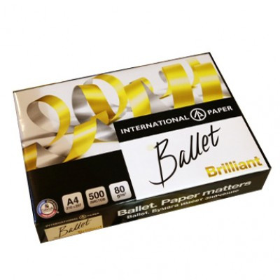 Бумага А4, Ballet Brilliant, 80 г/м2, класс А+, белизна CIE - 168%, 500л