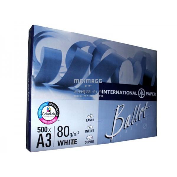 Бумага А3, Ballet Classik 80 г/м2, класс В, 500л, белизна 153% CIE
