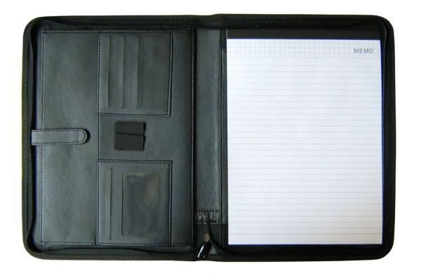 Папка-портфель для конференций, А4(33x25x2см), кожзам, блокнот, черная Foska