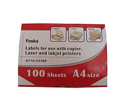 Наклейки на 4, А4, 105x148.5мм, 100л, белые Foska