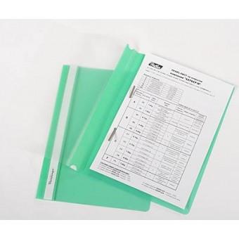 Папка-скоросшиватель А4, пластик/прозрачный верх, зеленая