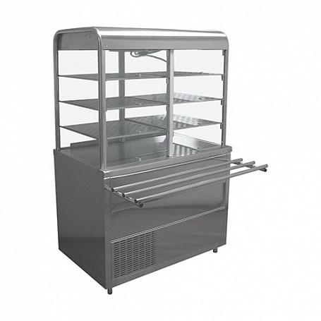 Стол охлаждаемый с витриной Лира-Профи СОЭП-В/ЛП-1500 (1500х705(1030)х1700(1720) мм, нерж.сталь, подсветка, 6