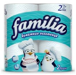 Бумажные полотенца белые Фамилиа 2рулона 2слоя/упаковка