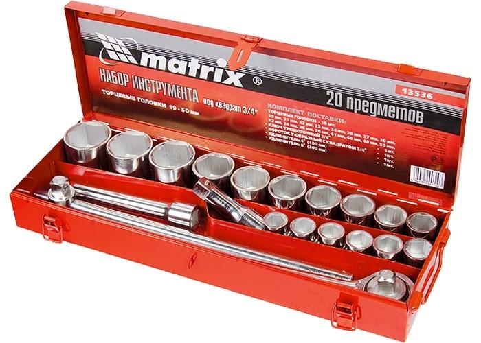 "(13536) Набор торцевых головок, квадрат, 3/4"", головки 19 х 50 мм, 20 предм., в метал. боксе//MATRIX"