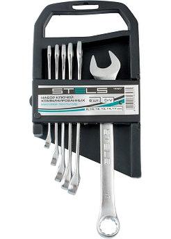 (15427) Набор ключей комбинированных, 8 - 17 мм, 6 шт., CrV, матовый хром// STELS