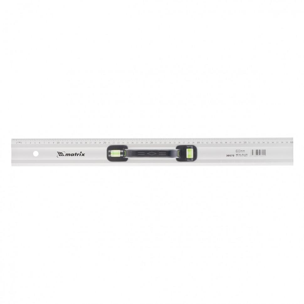 (30573) Линейка-уровень, 600 мм, металлическая, пластмассовая ручка 2 глазка// MATRIX MASTER