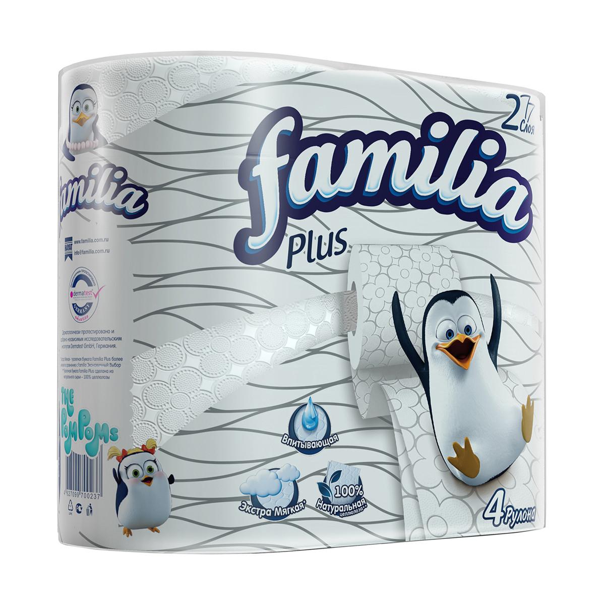 Туалетная бумага Фамилиа - Familia Plus белая 2сл 4шт/упаковка