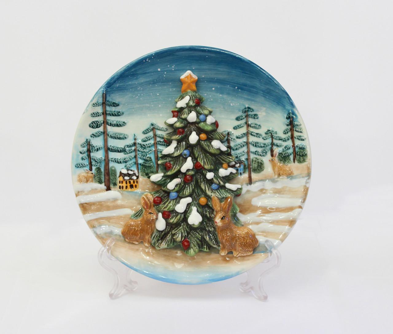 Декоративная тарелка Новогодняя елка. Ручная работа, Италия