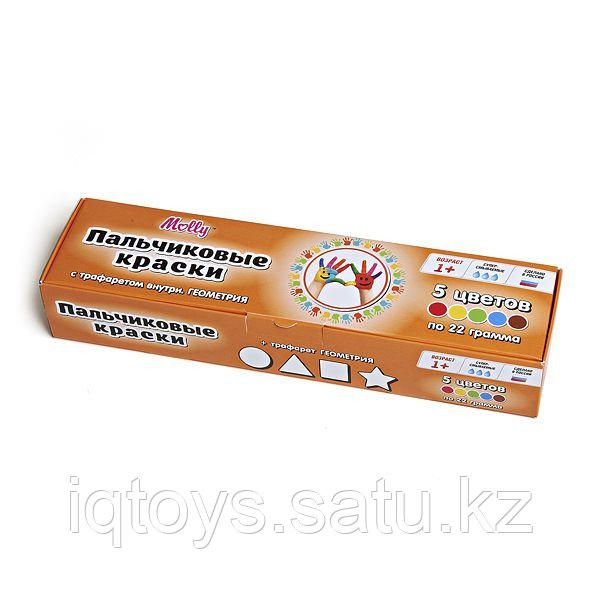 FP-12 Пальчиковые краски + трафарет ГЕОМЕТРИЯ 5цв х 25мл. 1/24