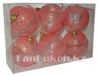 Набор новогодних елочных шариков 6 шт. красные С 004