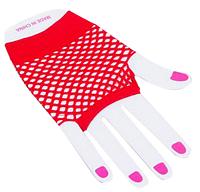 Перчатки Сетка короткие без пальцев (красные)