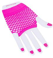 Перчатки Сетка короткие без пальцев (темно розовые)