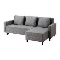 Диван-кровать с козеткой ЛУГНВИК серый/черный ИКЕА, IKEA, фото 1