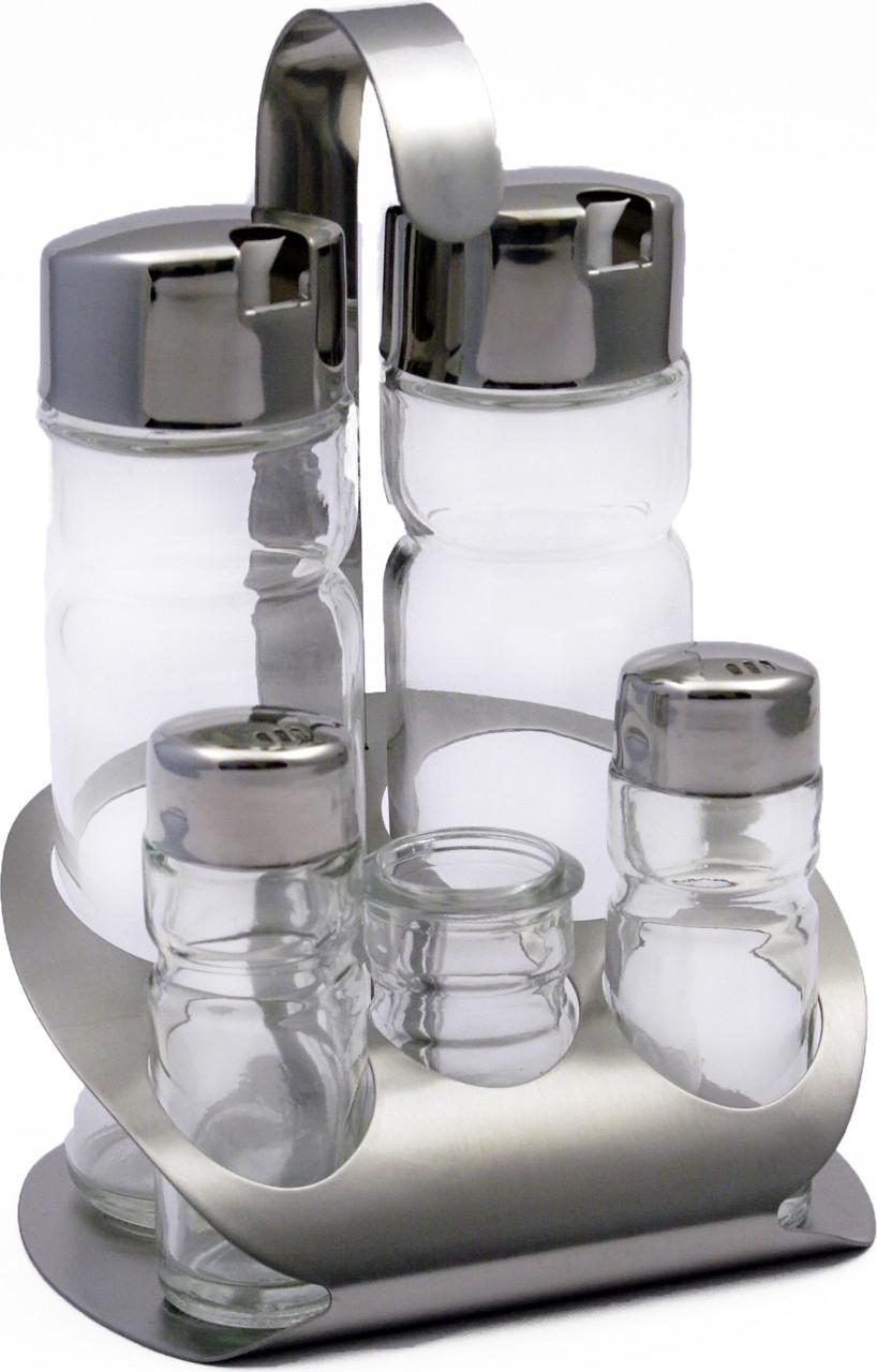 Набор для специй «Family» (соль, перец, зубочистки) + 2 соусницы Luxstahl