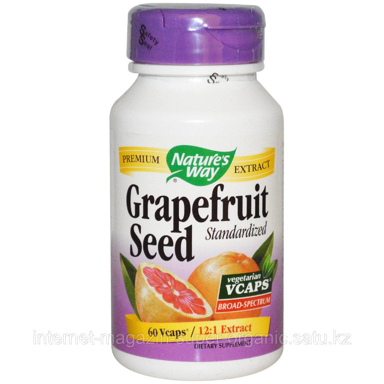Косточки грейпфрута экстракт, (Grapefruit Seed, Standardized), 60 капсул, Nature's Way
