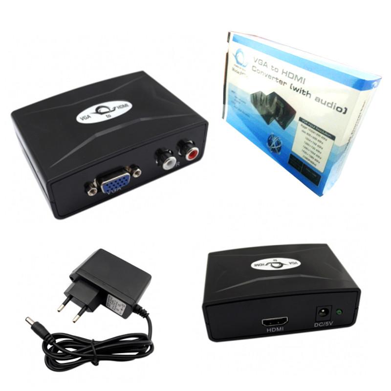 Конвертер  VGA/изображение/ +2RCA/звук/-HDMI FY1316