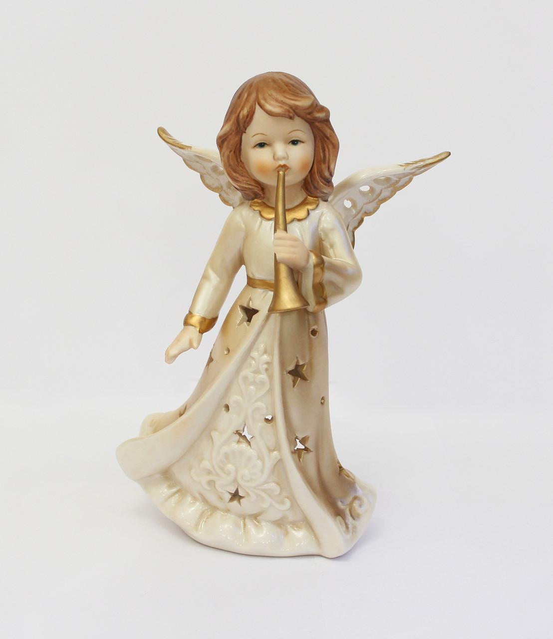 Статуэтка-подсвечник Ангел с трубой. Ручная работа, Италия