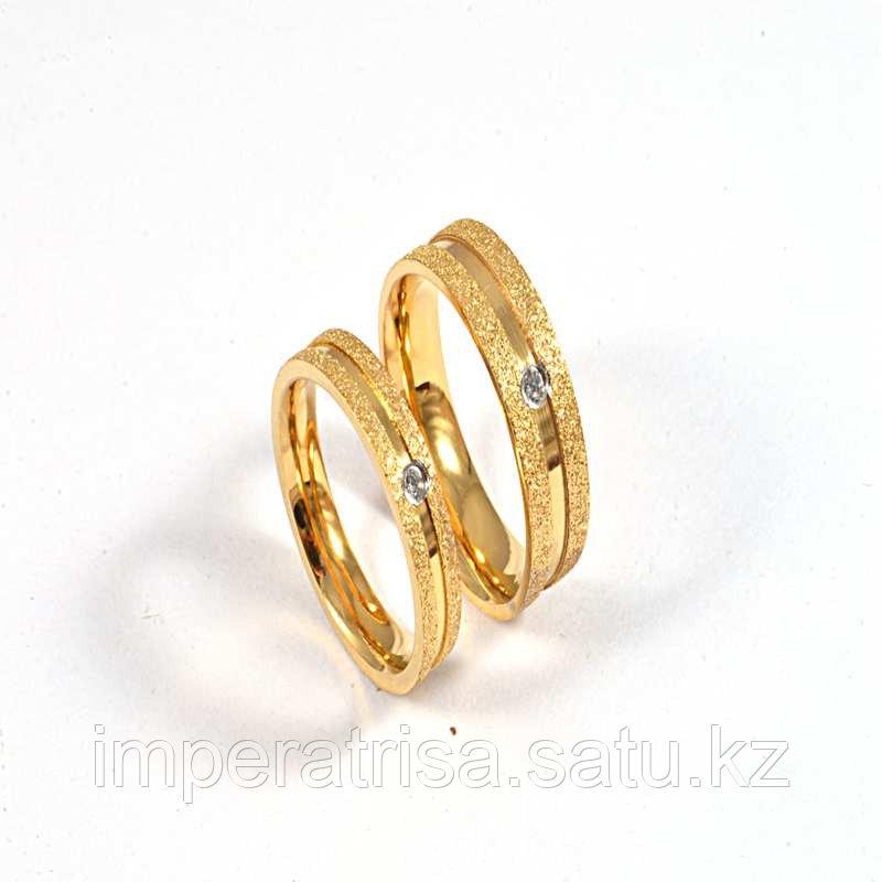 """Парные кольца для влюбленных """"Алмазное сияние"""" под золото"""
