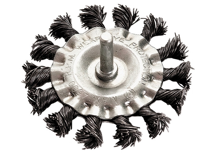 (74432) Щетка для дрели, 100 мм, плоская со шпилькой, крученая металлическая проволока // MATRIX
