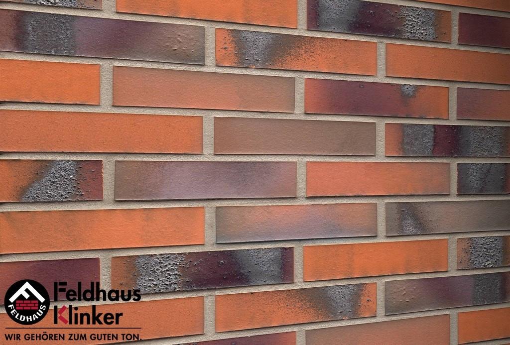 """Клинкерная плитка """"Feldhaus Klinker"""" для фасада и интерьера R562 carbona terreno bluastro"""