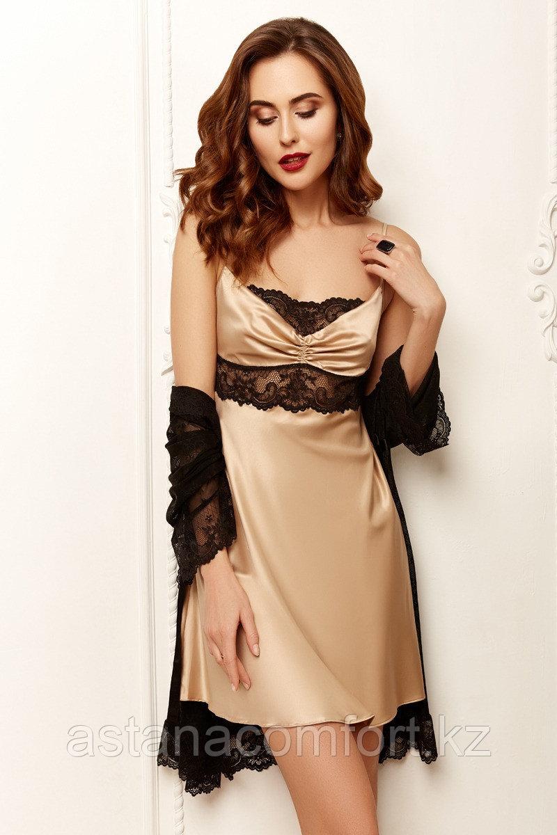Женская  атласная сорочка +кружевной халат. Anabel Arto.