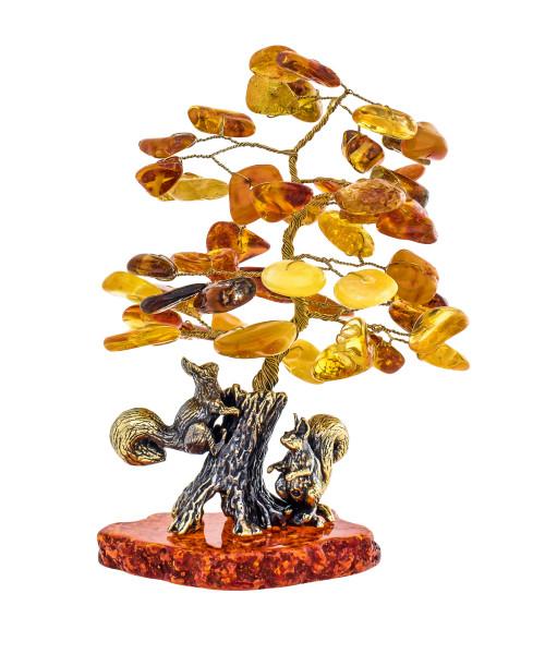 Сувенир Белочки под янтарным деревом. Ручная работа