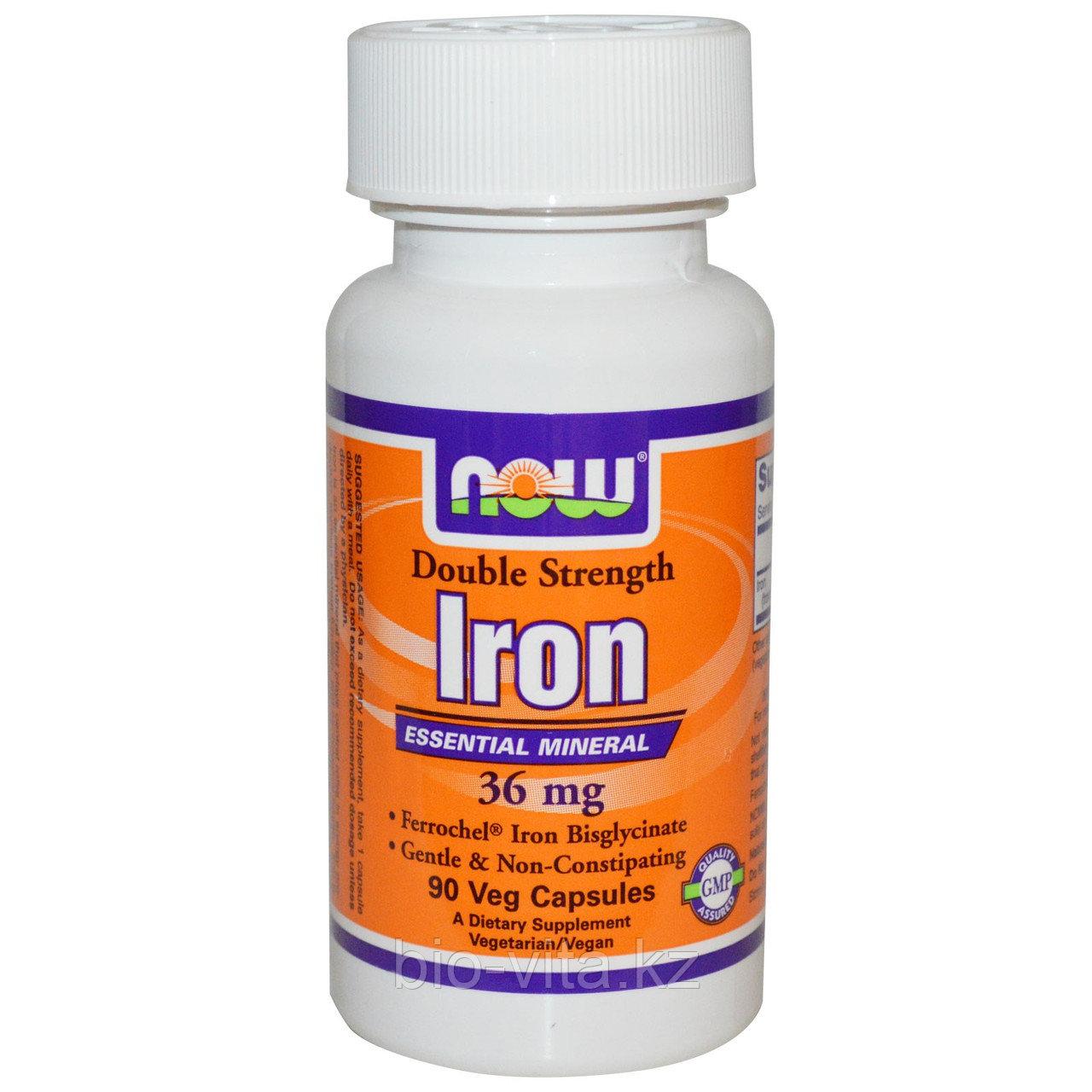 Now Foods, Железо (растительное, натуральное), двойная сила, 36 мг, 90 растительных капсул.