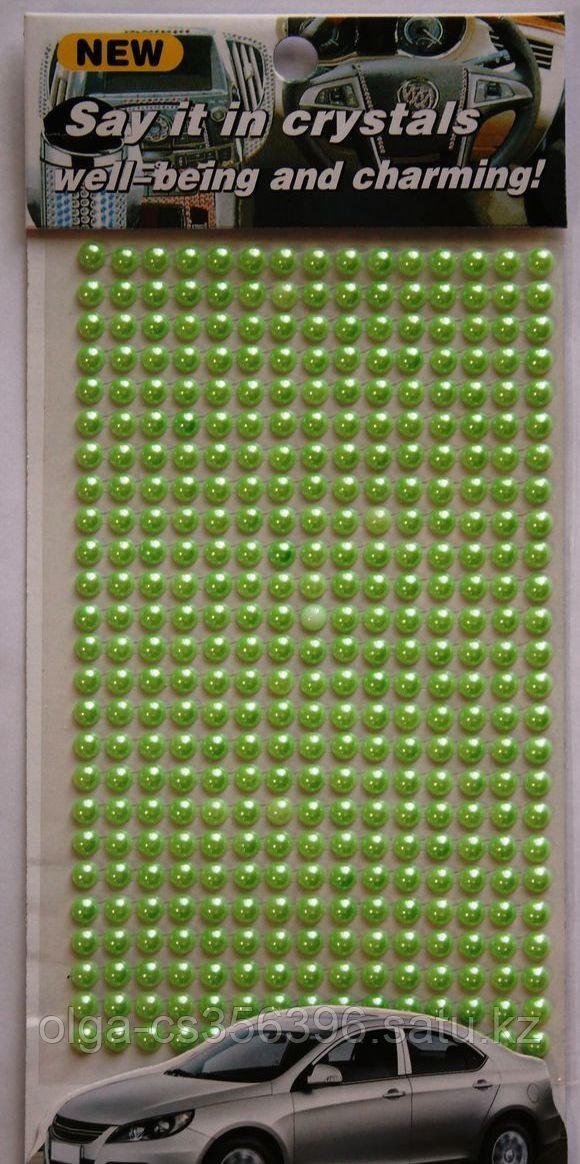 Полубусины на листе.Салатовые.  6 мм. 260 шт.  Creativ 1399 - 1