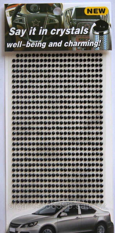 Стразы самоклеющиеся на листе (d-3 мм.)Черные. Creativ 1409