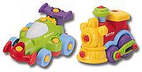 "Набор ""BUILD'N PLAY"" машина и паровозик в коробке, фото 1"
