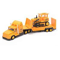 Игрушка строительная техника перевозчик + бульдозер 28 см.