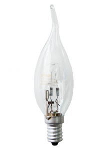Е14 28Вт 2900К Лампа галогенная ТМ Etalin свеча на ветру прозрачная