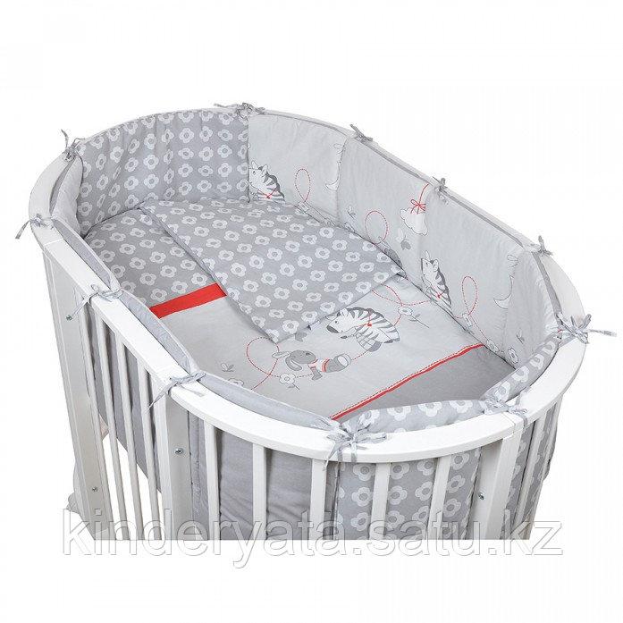 Комплект для овальной кроватки Pituso ЗЕБРА 6 предметов