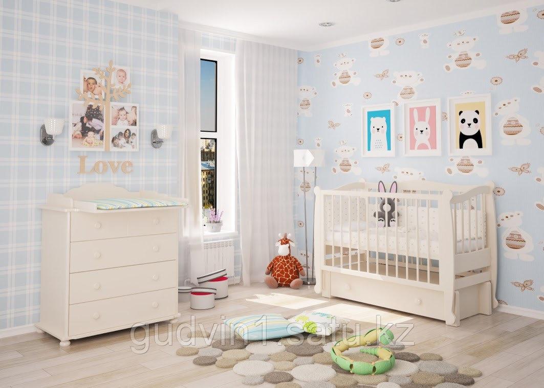 """Детская кроватка """"Алиса"""" Можгинский лесокомбинат(белая,слон.кость)"""