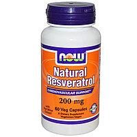 Now Foods, Природный ресвератрол, 200 мг, Анитиоксидант 60 капсул в растительной оболочке.