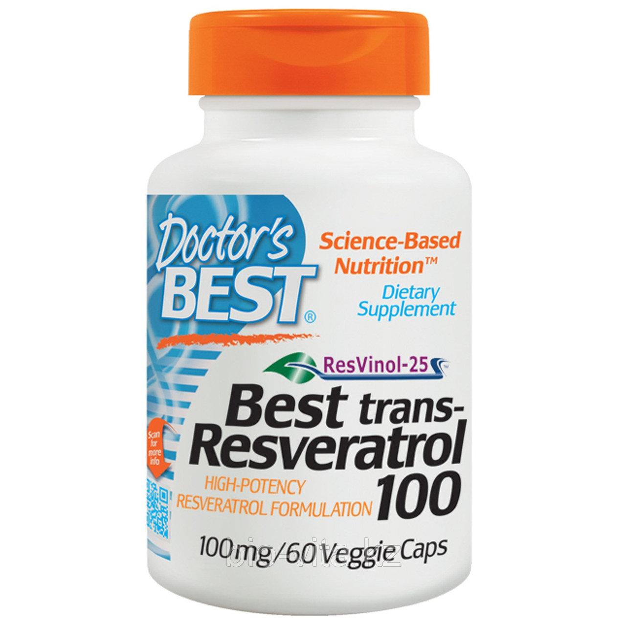 Doctor's Best, Лучший транс-ресвератрол 100, 100 мг, 60 растительных капсул   Doctor's Best, Лучший транс-ре