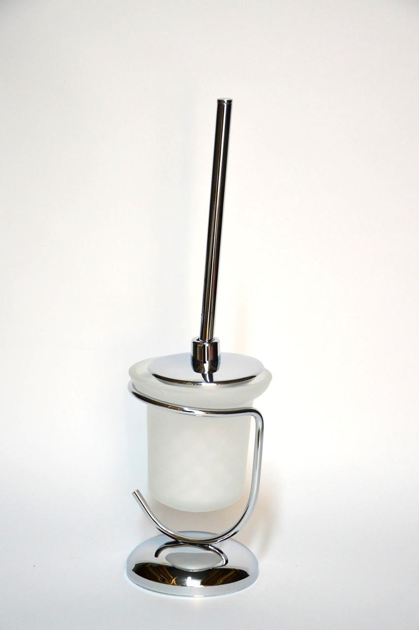 Ершик для унитаза хром в стеклянном стакане на польный
