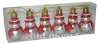 """Набор новогодних елочных игрушек """"Снеговик"""" (красные) 6 шт. C-084"""