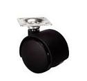 Мебельный ролик с площадкой, D 50 мм пластик .цвет черный