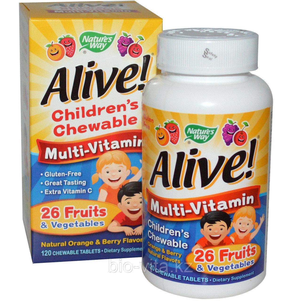 Nature's Way, Alive! Детские жевательные мультивитамины со вкусом апельсина и ягод, 120 жевательных таблеток.