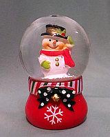 """Новогодний шар со снегом """"Снеговик"""" 6,5*4см., фото 1"""