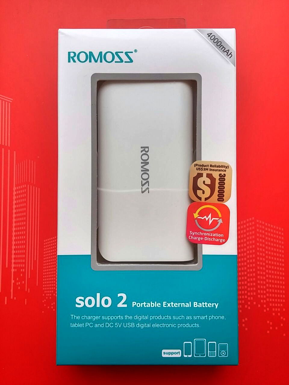 Портативный аккумулятор ROMOSS - 4000mAh